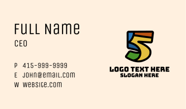 Colorful Number 5 Business Card
