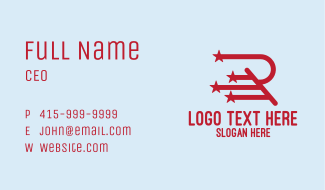Red Star Letter R Business Card