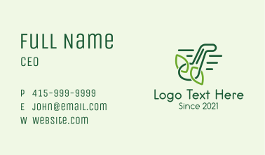 Music Note Leaves Outline Business Card