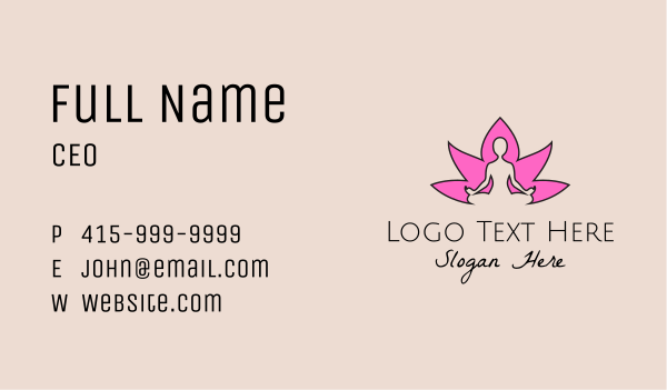 yoga instructor - Flower Yoga Fitness  Business card horizontal design