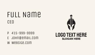 Black Spartan Helmet Dagger Business Card