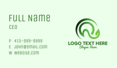 Green Leaf Letter Q Business Card