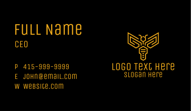 Yellow Key Wasp Outline Business Card