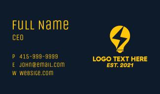 Electric Bulb Lightning Business Card