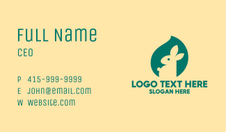 Green Bunny Toy Business Card