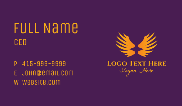 heavenly - Orange Star Wings Business card horizontal design