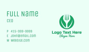 Green Vegan Salad Fork  Business Card