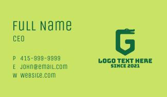 Green Crocodile Letter G Business Card