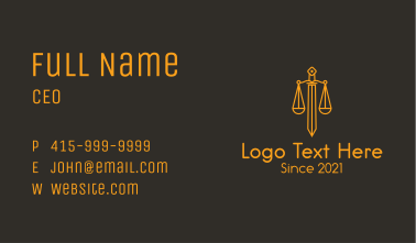 Sword Justice Scale Business Card