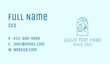 Blue Surfing Surfboard Beach Business Card
