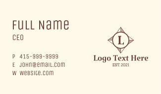 Direction Compass Letter Business Card