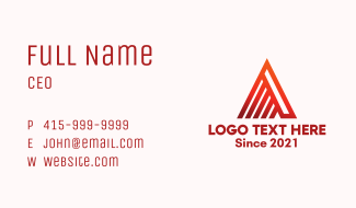 Linear Letter A Mountain Business Card
