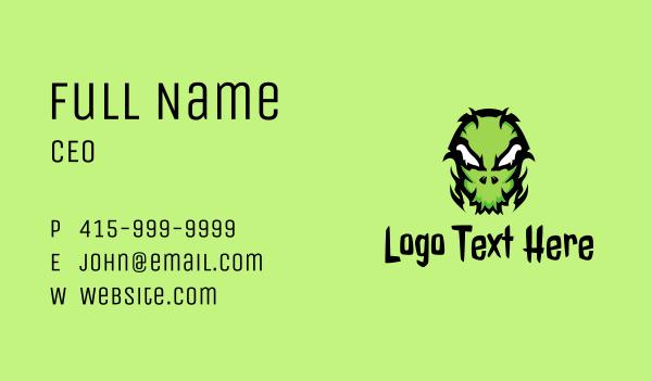 extraterrestrial - Green Creepy Halloween Mask Business card horizontal design