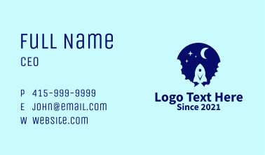 Blue Space Rocket Business Card