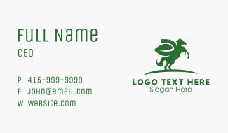 Green Pegasus Leaf Business Card