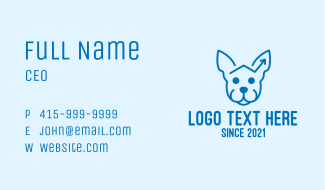 Blue Dog Monoline Arrow Business Card