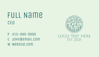 Forest Campsite  Business Card
