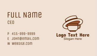 Coffee Cup Fedora Business Card