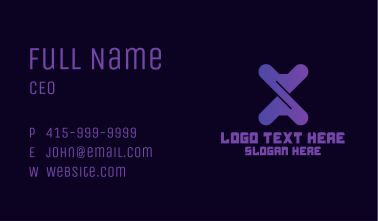Purple Twist Gaming Letter X Business Card