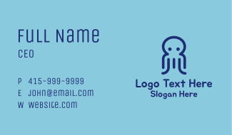 Minimalist Blue Octopus Business Card
