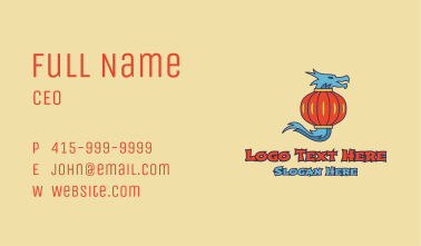 Asian Lantern Dragon Business Card