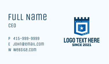 Blue Medieval Shield Business Card
