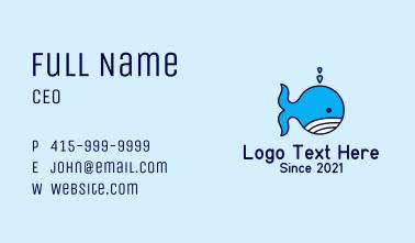 Blue Whale Cartoon Business Card