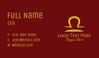 Gold Libra Horoscope Symbol Business Card
