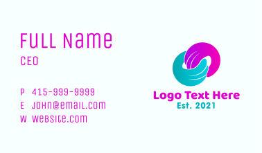 Gradient Helping Hand Business Card
