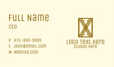 Art Deco Letter X Business Card