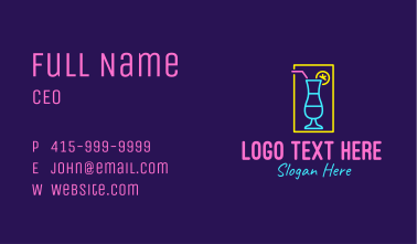 Neon Cocktail  Business Card