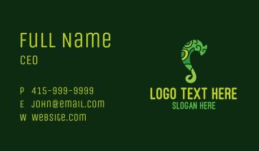 Green Chameleon Letter S Business Card