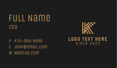 Weave Letter K  Business Card