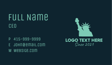 Green Statue of Liberty Business Card