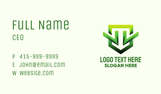 Green Geometric Shield Business Card