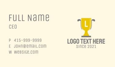 Golf Trophy Letter Business Card
