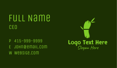 Green Bamboo Footprint Business Card