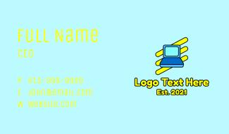 Cartoon Laptop Icon Business Card