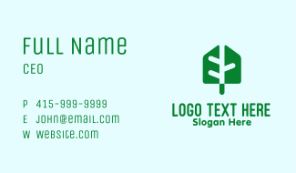Modern Green Leaf Business Card