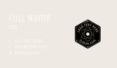 Rustic Atom Hexagon Badge Business Card
