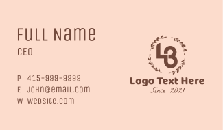 Beauty LB Monogram Business Card