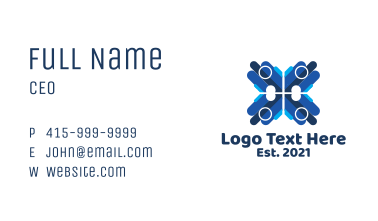 Blue Professional Letter X Business Card