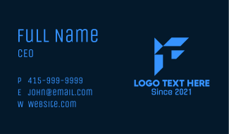 Blue Tech Letter F Business Card