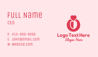 Heart Love Shield Business Card