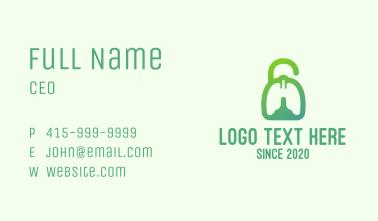 Green Respiratory Lung Unlock Business Card