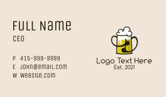 Beer Thumbs Up Mascot Business Card