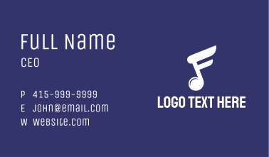 White Music Note Business Card