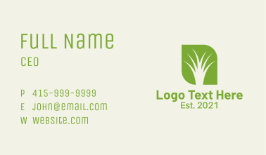 Negative Space Grass Business Card