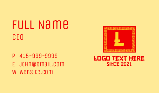 Chinese Rectangle Letter Business Card