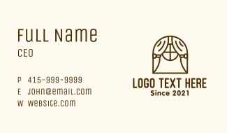 Curtain Window Outline Business Card